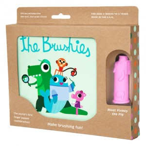 The Brushies Set Boek + Vingertandenborstel 'Meet Pinkey the Pig'