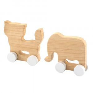 Pinch Toys Houten Set Mini Olifant en Kat
