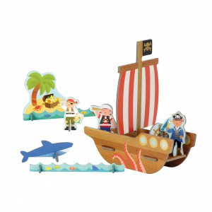 Petit Collage Pop-Out Figuren Piratenschip