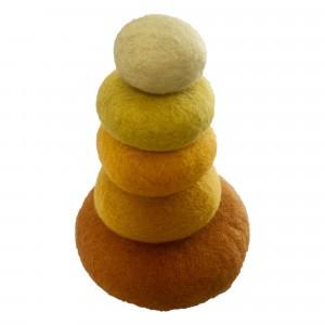 Papoose Toys Stapelset Geel (5 stuks)