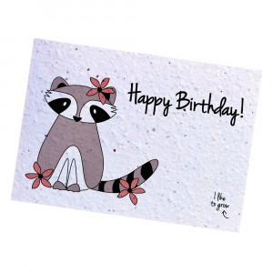 "Bloom Your Message Postkaart Flowers Raccoon ""Happy Birthday"""