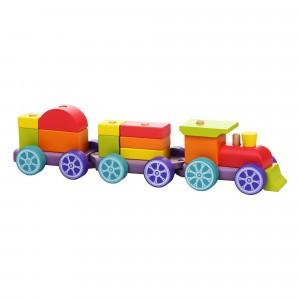 Cubika Houten Blokken Trein Rainbow Express