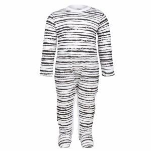 nOeser Newborn Jumpsuit met voetjes Wit/ Zwart