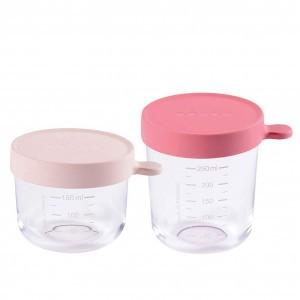Beaba 2 Glazen Bewaarpotjes - Roze (150 ml/ 250 ml)