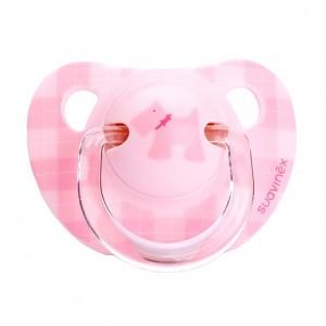 Suavinex Fopspeen Anatomisch Silicone Evolution 0-6 maand Scottish Roze Geruit met Hondje