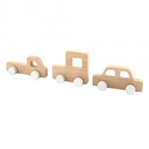 Pinch Toys Houten Set Mini 80's Auto's Witte Wielen