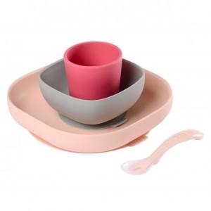 Beaba Silicone Eetset met zuignap Roze / Grijs