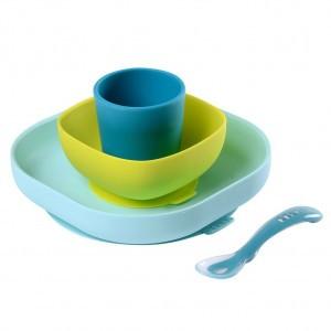 Beaba Silicone Eetset met zuignap Groen / Blauw