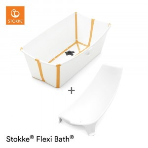 Stokke Flexi Badje White Yellow Set (inclusief Newborn Support)