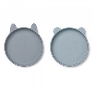 Liewood Olivia Silicone Bord (2-pack) Blue Mix
