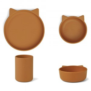 Liewood Junior Silicone Eetset Kat Mosterd