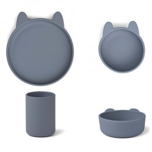 Liewood Junior Silicone Eetset Konijn Blue Wave