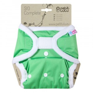 Petit Lulu Snap in One Luier Velcro Groen (4-15 kg)