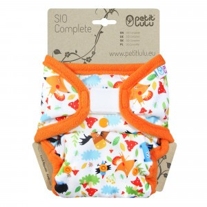 Petit Lulu Snap in One Luier Velcro Crazy Animals (4-15kg)