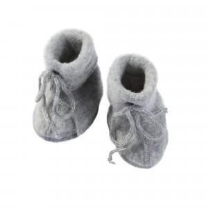 Engel Baby Slofjes Wolfleece met Veter, Lichtgrijs