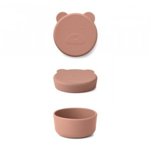 Liewood Carrie Mini Silicone Snackdoosje Mr. Bear Dark Rose