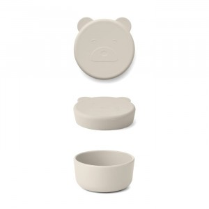 Liewood Carrie Mini Silicone Snackdoosje Mr. Bear Sandy
