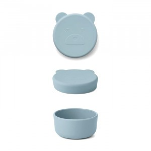 Liewood Carrie Mini Silicone Snackdoosje Mr. Bear Sea Blue
