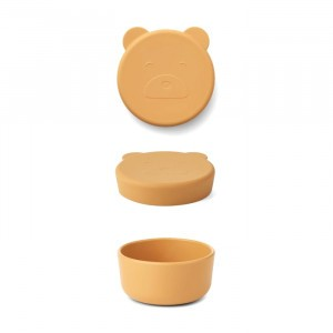 Liewood Carrie Mini Silicone Snackdoosje Mr. Bear Yellow Mellow