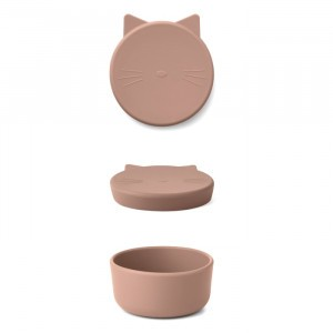 Liewood Cornelius Silicone Snackdoosje Cat Dark Rose