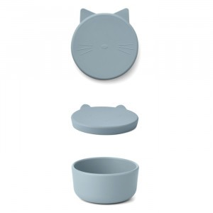 Liewood Cornelius Silicone Snackdoosje Cat Sea Blue