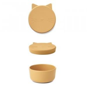 Liewood Cornelius Silicone Snackdoosje Cat Yellow Mellow
