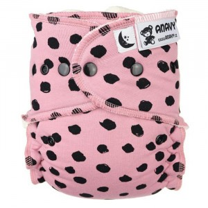 Anavy Nachtluier XL met snaps Black Dots Pink (6-18 kg)