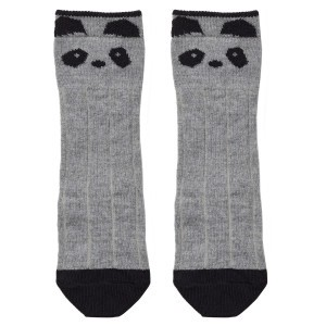Liewood Kniekousjes Wol/Katoen Panda Grijs Melange