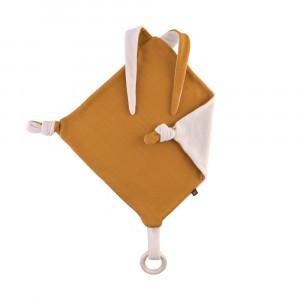 Forgaminnt Amber Yarn Speendoekje met bijtring Bunny Mustard Sunset