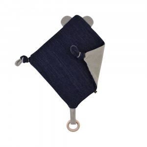 Forgaminnt Amber Yarn Speendoekje met bijtring Teddy Bear Navy Blue