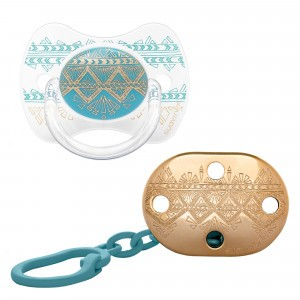 Suavinex HauteCouture Fopspeen Silicone 4-18 maanden + Speenketting Light Blue