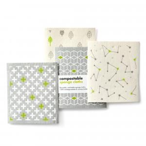 Ecoliving Composteerbare Sponsdoekjes (4 stuks) Leaf/Cubes/Plus Sign/Stars
