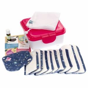 Cheeky Wipes Uitwasbaar Maandverband Minky & Bamboe Volledige Kit Starry Night - Roze Doos