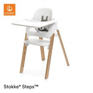 Stokke Steps Stoel White/Natural + Babyset White + Tray GRATIS