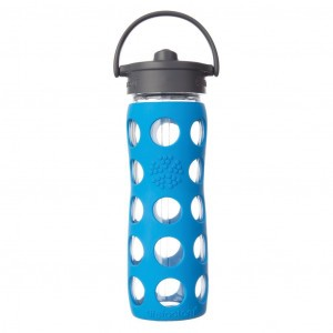 Lifefactory Glazen Drinkfles 650ml Straw Cap Blauw