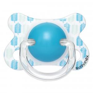 Suavinex Fopspeen Fusion Fysiologisch Latex 0-4 Maand Blaadjes Blauw