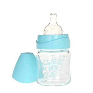 Suavinex Glazen Fles Silicone 110 ml 'Always by your side' Aqua