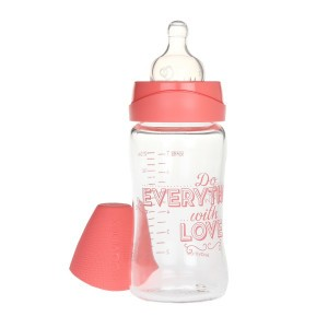 Suavinex Glazen Fles Silicone 210 ml 'Do everything with love' Roze