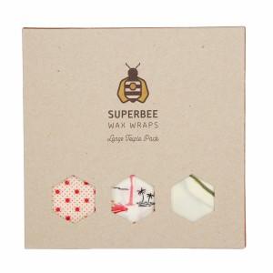 Superbee Herbruikbare Waxwraps Bijenwasfolie Large (3 stuks)