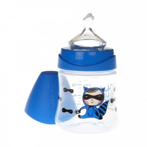 Suavinex Fles Anatomisch Silicone 0-6 maand Medium flow 150 ml Superbaby Blauw