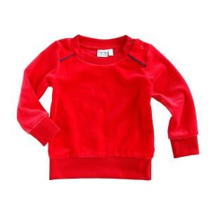 Mundo Melocoton Sweater Bies Velours Rood/Aqua Baby