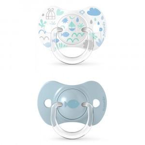 Suavinex Fopspeen Fysiologisch Silicone 0-6 maand (Reversible) Duo Memories Blue