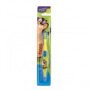 Brush Baby Flossbrush Geel/Blauw 3-6 jaar