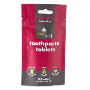 Ecoliving Tandpasta Tabletten zonder fluor - Framboos (125 stuks)