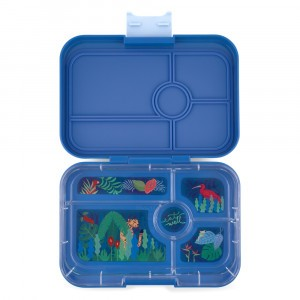 Yumbox Tapas met 5 vakken True Blue met Tray Jungle