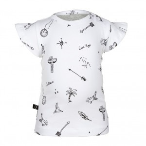 nOeser Ted T-Shirt Frill Symbols Feather White (maat 50-86)