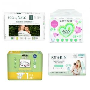 Testpakket: 4x Ecologische wegwerpluiers maat 1 (2-6 kg)