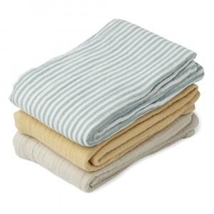 Liewood Tetradoeken (3 pack) Sea Blue Stripe Mix