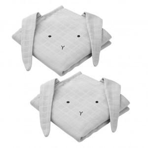 Liewood Tetradoeken (2 pack) Hannah Konijn Dumbo Grijs