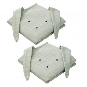 Liewood Tetradoeken (2 pack) Hannah Konijn Mint